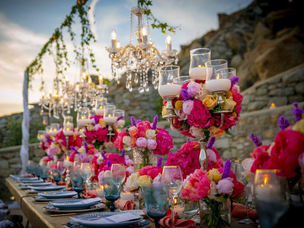 Hindu wedding in Mykonos flowers